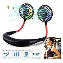Hands Free Portable LED Lazy Neckband Fan Hanging Sport Style Wearable Duel Cooling Rechargeable Mini USB Neck Fan with 2000mAh Charging Battery 3 Speeds 360 Degree Adjustment Head for Outdoor Office