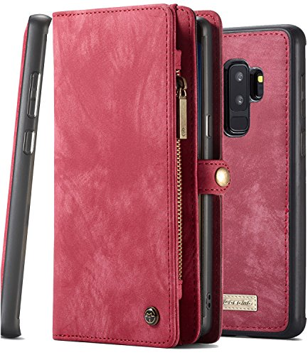 Galaxy S9 Plus Case Wallet, S9+ Detachable Slim Cover, XRPow Premium Leather Folio Magnetic Wallet Protection Card Slot Holder Removable Back Shell Carrying Cover for Samsung Galaxy S9 Plus RED
