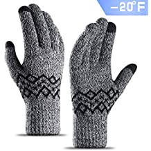 TRENDOUX -20°F(-29℃) Cold Proof Thick Knit Winter Gloves for Men and Women, Touch Screen Fingertips, Elastic Cuff, Thermal Soft Lining