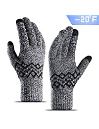 TRENDOUX Cold Proof Thick Knit Winter Gloves for Men and Women, Touch Screen Fingertips, Elastic Cuff, Thermal Soft Lining