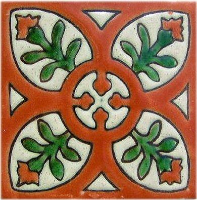 - Fine Crafts Imports 4.2x4.2 9 pcs Alhambra Terracota Perpignan Talavera Mexican Tile