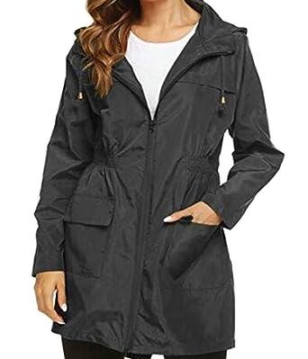 e30b93437f4e4 Cromoncent Women s Plus Size Zip up Jacket Windproof Hooded Wind Proof Rain  Coat Trench Coat Black