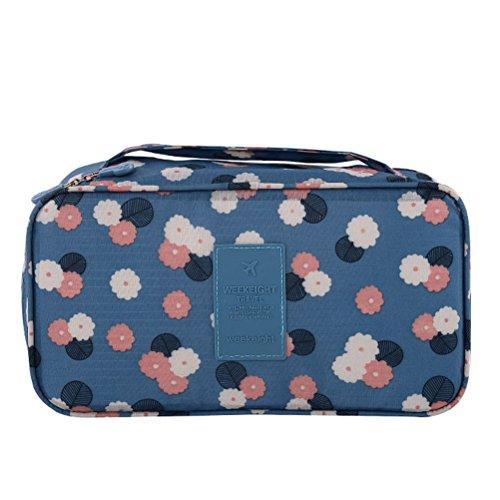 Multifunktional Unterwäsche BH Aufbewahrungstasche mit Reißverschluss Sockentasche Faltbare Bra Tasche Reisetasche Beutel mit Handgriff (Blau)
