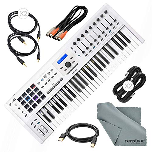 (Arturia KeyLab MKII 49 Professional MIDI Keyboard Controller and Software (White) with Assorted Cables Bundle)