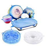 Silicone Stretch Lids 12-Pack of Various Sizes Reusable Cover Lids Heat Resistant,Fit Various Sizes and Shapes of Containers, Keeping Food Fresh, Dishwasher and Freeze