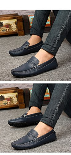 Santimon Mens Confortable En Cuir Véritable Mocassins Mocassins Doug Chaussures Bleu