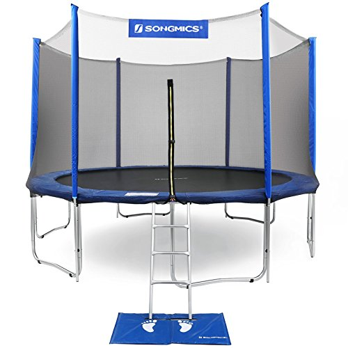 Round Rung (SONGMICS Outdoor Trampoline 15-Feet for Kids with Enclosure Net Jumping Mat and Spring Cover Padding TÜV Rheinland Certificated According to ASTM and GS Standard Blue USTR15FT)