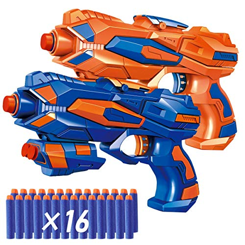POKONBOY 2 Pack Blaster Guns Toy Guns for Boys with 16 Pack Refill Soft Foam Darts for Kids Birthday Gifts Party Supplies Hand Gun Toys for 4 5 6 7 Year Old Boys (Nerf Guns For Toddlers)