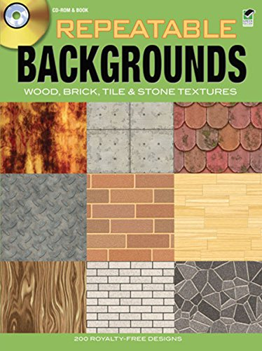 Repeatable Backgrounds: Wood, Brick, Tile and Stone Textures CD-ROM and Book (Dover Electronic Clip Art) (Bricks Tile)