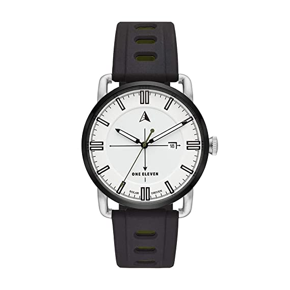 Amazon.com: One Eleven Mens SW1 Solar Stainless Steel Quartz Silicone Strap, Silver, 21.5 Casual Watch (Model: CBOE2007: Watches