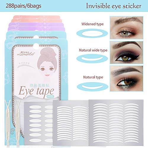 288pairs/6pack Natural Invisible Side Sticky Double Eyelid Tape Stickers Medical Fiber Eyelid Lift Strip Instant Eyelid Lift Without Surgery Perfect for Hooded Droopy Uneven Mono-Eyelids (Lift Eyelid Surgery)
