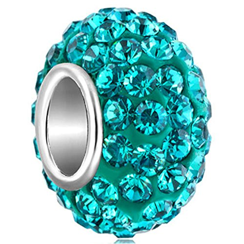(CharmSStory 925 Sterling Silver Blue Simulated Birthstone Charms Synthetic Crystal Bead For Bracelets)