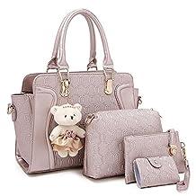 Women 4 Pieces Leather Handbags Clutches Shoulder Bag Wallet Card Bag Set