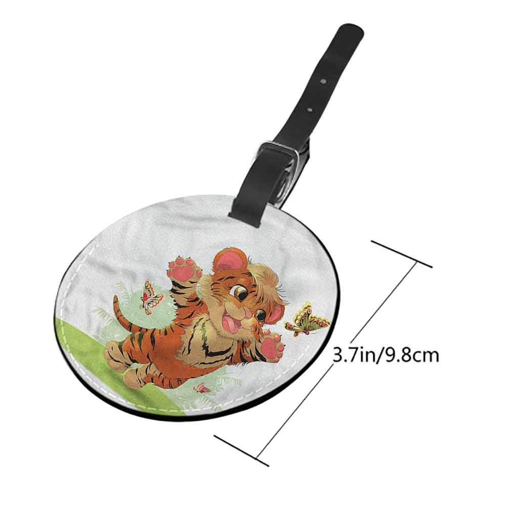 Id Tag Suitcase Carry Cartoon,Cute Animal with Floral Suitcase Labels Bag