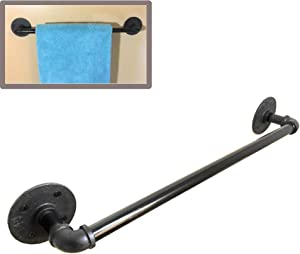 20 inch Industrial Black Iron Bathroom & Kitchen Towel Bar | Quality Black Powder Coated Iron ½ npt | Vintage Farmhouse DIY Wall Mounted Rack | Steampunk Rustic décor | Includes mounting Hardware