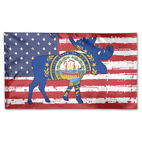 UNSTARFLAG American Flag by U.S. Veterans Owned New Hampshire State Flag Moose Flag 3x5 Ft