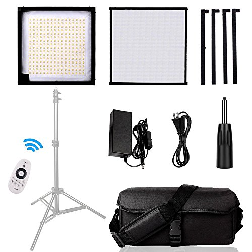 Led Lighting Panel, SAMTIAN Dimmable 5600K Led Photography Video Panel Light with 3030cm Soft Fabric and 2.4G 4 -Channel Remote Control for Video Photography by SAMTIAN