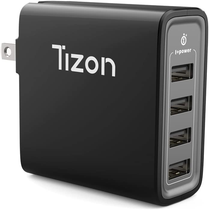 4-Port USB Fast Wall Charger (40Watt) w/I+Power High Speed chip& Foldable Travel Plug, Tizon Voyage for iPhone X, 8/8Plus, 7/7Plus, iPad Pro/Air 2, iPad Mini 3,Samsung S8/S7/Edge/Plus&More