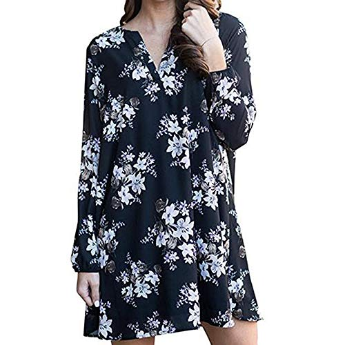 HITRAS DressFashion Women Elegant Long Sleeve V-Neck Floral Printed Mini Loose Dress