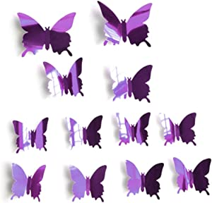 Ruipunuosi 12Pcs 3D Mirror Butterfly Wall Sticker Home Decor Creative Living Room Bedroom Bathroom Wall Sticker DIY Butterflies Fridge Stickers Room Decoration