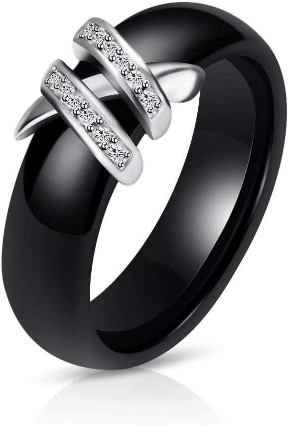 safeinu Anillo de bodas de compromiso de acero inoxidable de cerámica para hombres y mujeres con incrustaciones de diamantes análogos con incrustaciones de circón anillo de bodas de cerámica doble en