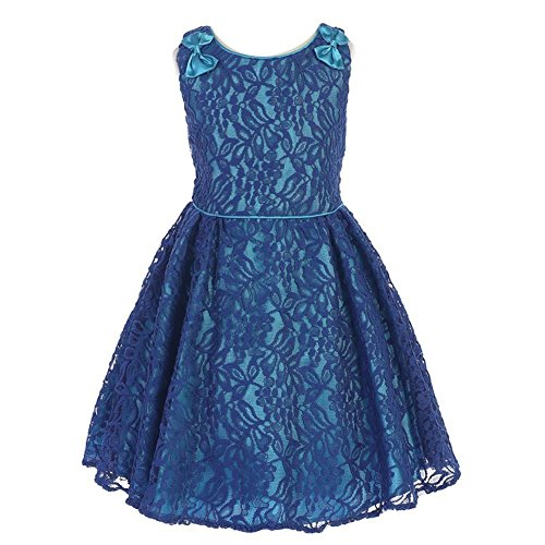 Price comparison product image Angels Garment Little Girls Blue Charmeuse Lace Flower Girl Easter Dress 3-4