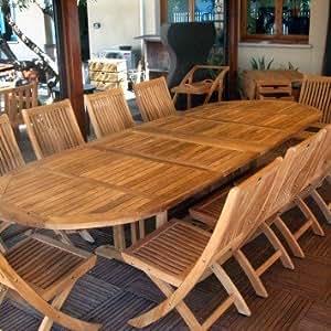 Velmo ovalado-Mesa extensible hasta 3 metros 8 2 sillas para niños madera de teca
