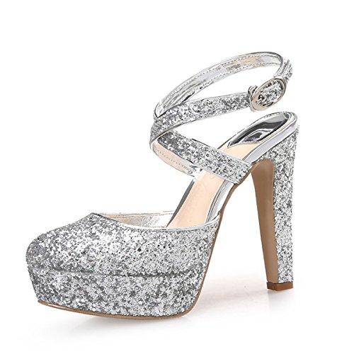DIMAOL Chaussures Femmes de Paillettes Scintillantes Paillette PU Microfibre synthétique Printemps Automne Slingback Talons Talon Bout Rond pour Paillette Argent,Mariage,US6/EU36/UK4/CN36