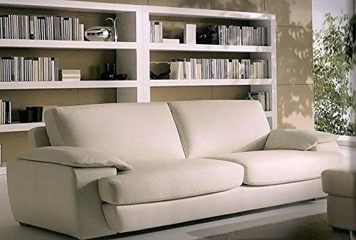 Calia Maddalena–Sofa in Leder Elisa, Leder erste Blume NUVOLATO Poltrona con 1 cuscino Pelle Primo Fiore Nuvolato Marrone Scuro