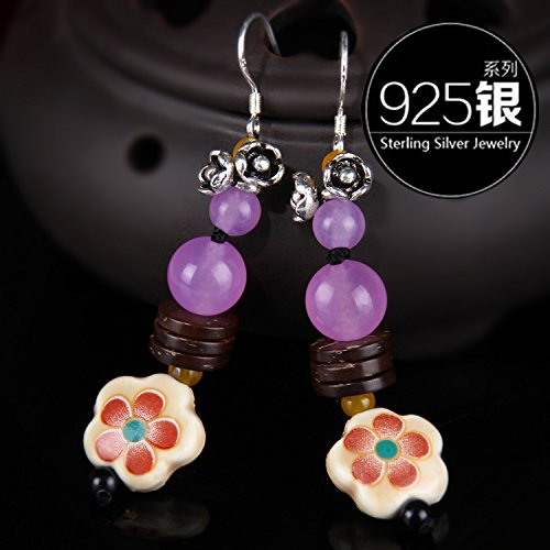 - TKHNE National Wind earring long section women girls retro earrings accessories ceramic flowers purple chalcedony earrings 925 silver jewelry