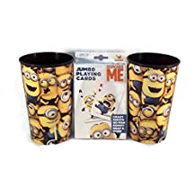 Despical Me Minion Fan 3 piece Bundle Pack: One Pack Jumbo Playing Cards, Two 16 Oz. Tumblers, All Products Featuring Despicable Me Minion Made