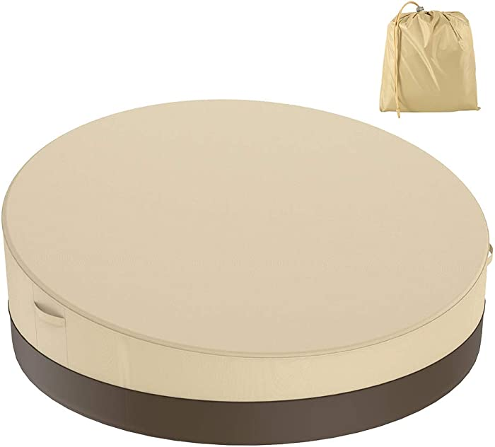 BullStar Patio Round Daybed Cover 90 Inch, 420D Outdoor Garden Furniture Cover Heavy Duty Oxford Fabric Day Bed Sofa Cover Waterproof UV & Weather Resistant