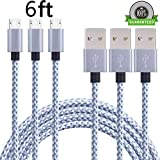 SunCable 3pcs 6ft Nylon Braided High Speed 2.0 USB to Micro USB Charging Cord Fast Android Charger Cable for Samsung Galaxy S7/S6/S5/Edge,Note 5/4/3,HTC,LG,Nexus and More (3Pack 6ft)
