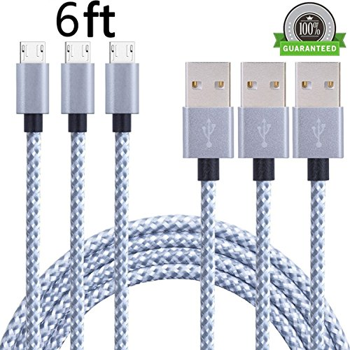 SunCable 3pcs 6ft Nylon Braided High Speed 2.0 USB to Micro USB Charging Cord Fast Android Charger Cable for Samsung Galaxy S7/S6/S5/Edge,Note 5/4/3,HTC,LG,Nexus and More (3Pack 6ft) by SunCable