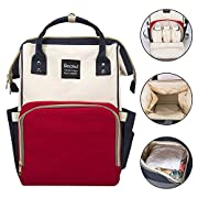 Diaper Bag,Becmd Large Capacity Diaper Bag Backpack,Multi-Function Travel Backpack Maternity Nappy Bag, Nurse bag,Fashion Mummy Bag,Waterproof for Baby Care,Stylish and Durable