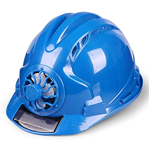 YAN JUNau Adjustable Helmet with Solar Fan, ANSI-Compliant, Personal Protective Equipment for Construction, Home Improvement and DIY Projects/PP (4 Colours) (Color : A: Blue) ()