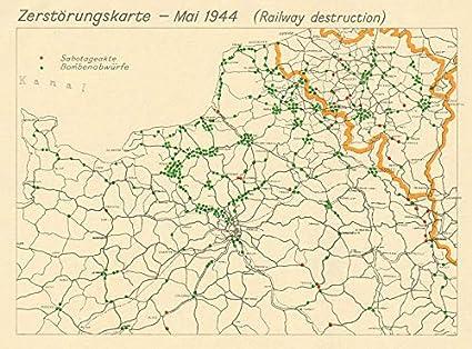 Amazon.com: Zerstörungskarte May 1944. France Belgium ...