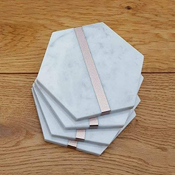 Amazon Com Marble Drink Coasters Rose Gold Home Decor Hexagon Desk Accessories Gift For Women Set Of 4 Handmade