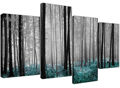 Canvas Prints of Teal Forest Woodland Trees in Black and White for your Living Room - 4242 - Wallfillers Bedroom Wide Poster Bed