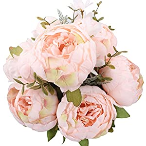 Duovlo Springs Flowers Artificial Silk Peony Bouquets Wedding Home Decoration,Pack of 1 (Spring Pure Pink) 17