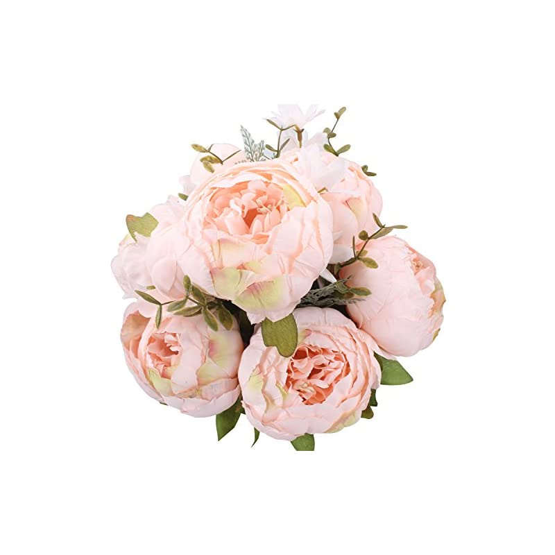 silk flower arrangements duovlo springs flowers artificial silk peony bouquets wedding home decoration,pack of 1 (spring pure pink)