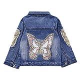 Star Flower Little Big Girls Denim Jackets Coats Outwear (6, Blue(Butterfly))
