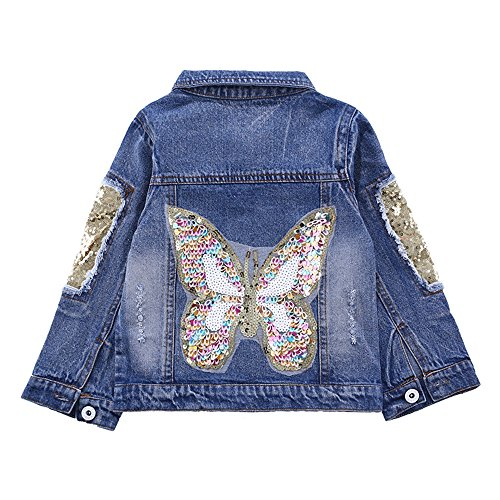 Denim Dark Girls (Star Flower Little Big Girls Denim Jackets Coats Outwear (6, Blue(Butterfly)))