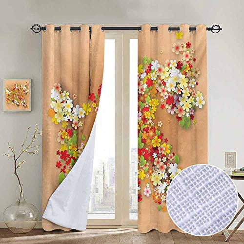 NUOMANAN Window Curtains Floral,Summer Season Sale Banner with Paper Flowers and Black Frame Illustration,Orange Red and White,Tie Up Window Drapes Living Room - Photo 9 Banner Design Cloud