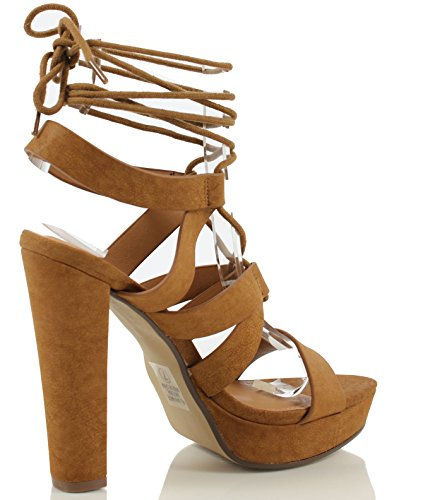 Delicioso Para Mujer Ranch Open Toe Strappy Lace Up Tobillo Tie Platform High Hee (6.5 M Us Mujeres)