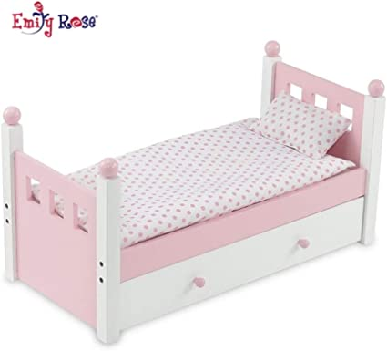 18 Inch Doll FurnitureLovely Pink and White Single Trundle Bed Storage ...