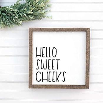 Personalized Framed Wood Sign, Hello Sweet Cheeks Framed Wood Sign, Rustic Farmhouse Decor, Funny Bathroom Art