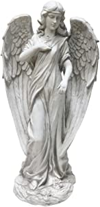 Alpine Corporation QFC104 Angel Statue Outdoor Garden, Patio, Deck, Porch-Yard Art Decoration, 31-Inch Tall, White