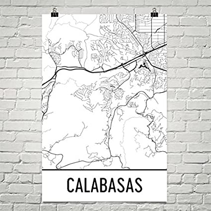 Amazon Com Modern Map Art Calabasas California Map Calabasas Art