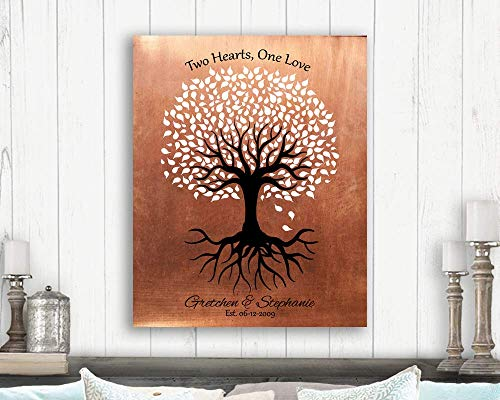 Personalized Gift For Gay Couple Same Sex Marriage Minimalist Feminine Tree Two Hearts One Love Custom Art Print 1418 Paper ()